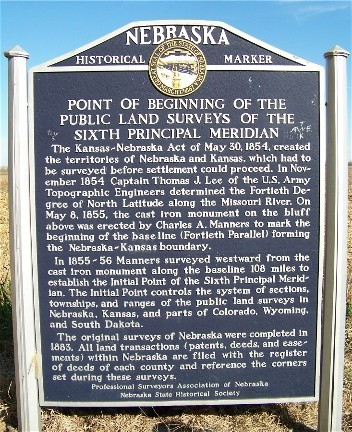 Point of Beginning of the Public Land Surveys of the Sixth Principal Meridian