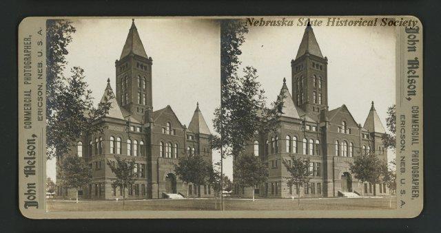 Stereoview of Aurora, Nebraska Courthouse
