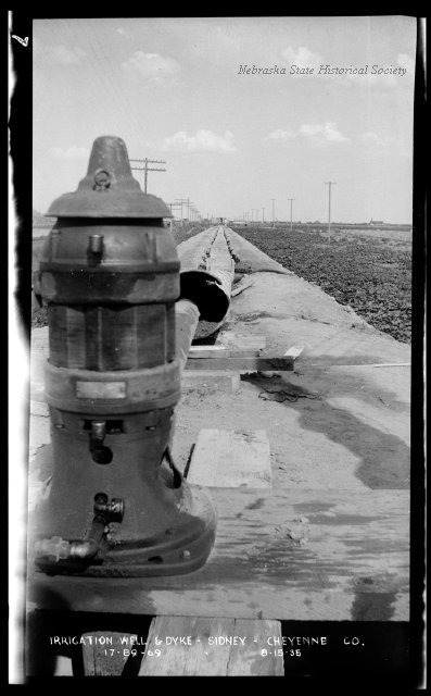 This is an irrigation well and dyke at Sidney in Cheyenne County, July 15, 1935