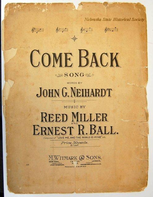 Sheet Music; Come Back Soon, Words by John G. Neihardt, 1908, 9900-2