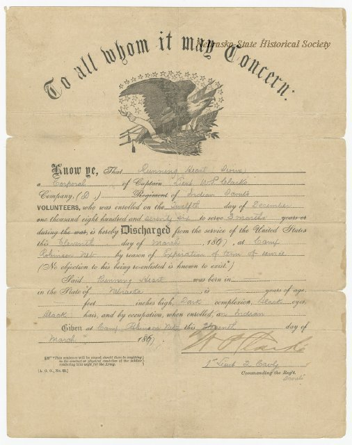 "Discharge, USA, Indian Scouts, Running Hawk, 1877; At Camp Robinson, Nebr, Written as ""Running Heart"", 8265-2"