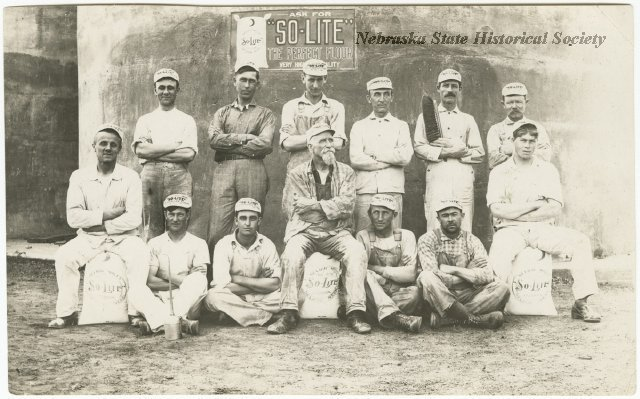 A group portrait of the Neligh Mill work force with bags of So-Lite flour. - See more at: http://nebraskahistory.pastperfectonline.com/photo/B819F6A4-4D5B-498B-8065-765841148481#sthash.u21QyN3n.dpuf
