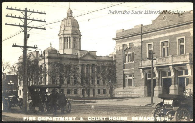 A picture postcard of the Fire Department & Court House in Seward, NE.
