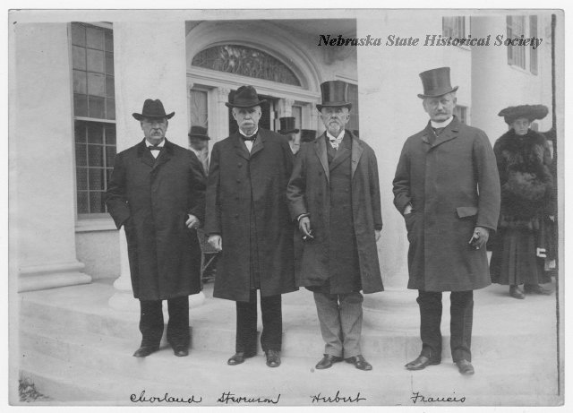 President Grover Cleveland, Mr. Adlai Stevenson, Mr. Herbert and Mr. Francis in front of Arbor Lodge in Nebraska City, NE.
