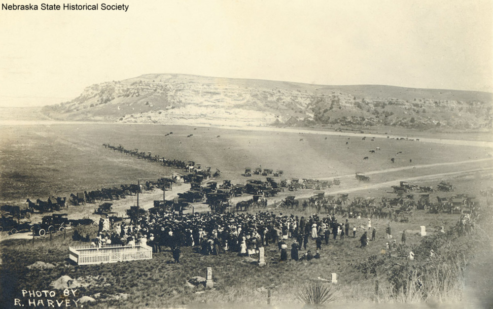 """Ash Hollow"" Nebraska. Unveiling Oregon Trail monument in Lewellen Cemetery."