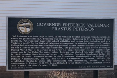 Governor Frederick Valdemar Erastus Peterson marker